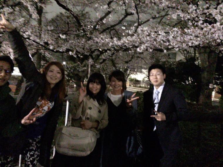 夜桜花見♡歓迎会♡