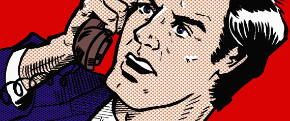 Close up cartoon of angry businessman talking on the telephone